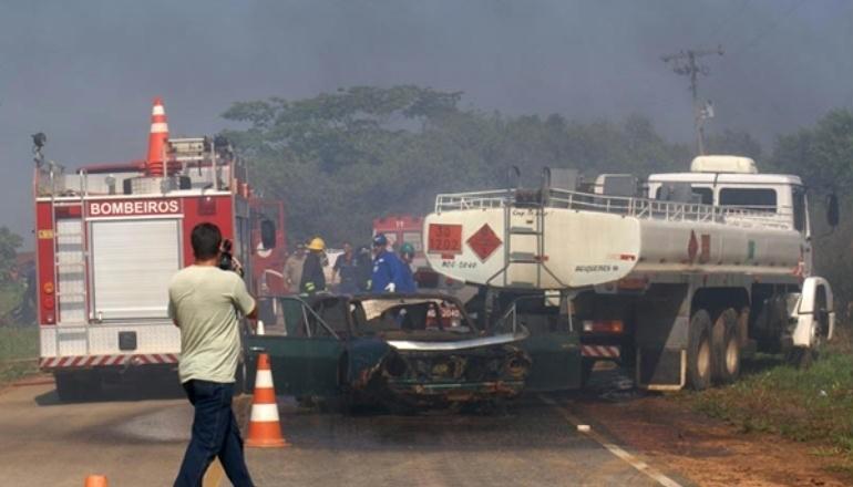 acidente com viatura de transporte de materiais perigosos