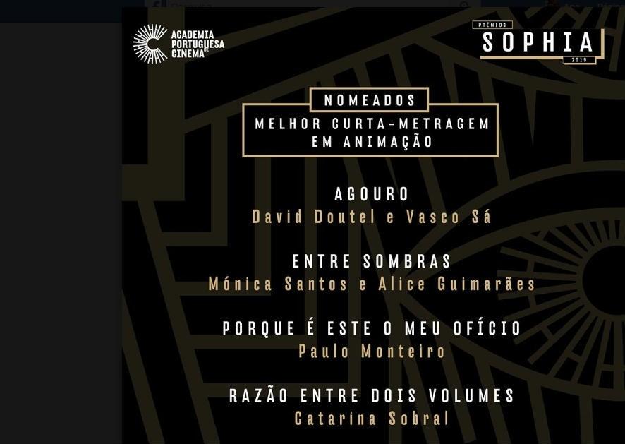 Prémios Sophia 2019 filme Paulo Monteiro