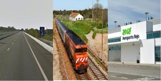 IP8 ferrovia e aeroporto de Beja