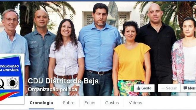 Candidatura da CDU com página no facebook