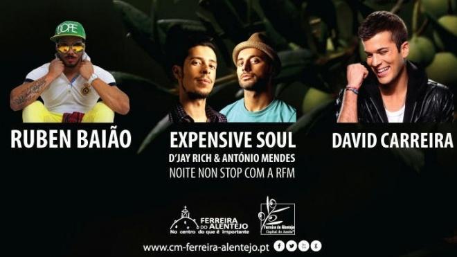 Ruben Baião, Expensive Soul e David Carreira em Ferreira do Alentejo