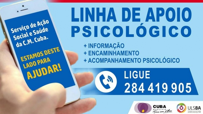 Câmara de Cuba disponibiliza linha de apoio psicológico