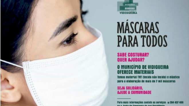 "Vidigueira promove iniciativa ""Máscaras para todos"""