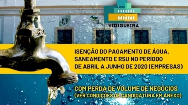 Câmara de Vidigueira isenta pagamento de água a empresas do concelho