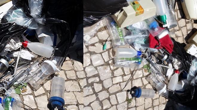 Lixo hospitalar fora de molok junto à Segurança Social de Beja