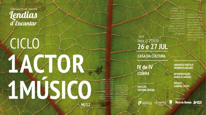 """Ciclo """"1 Ator 1 Músico"""" apresenta espetáculo na Casa da Cultura"""