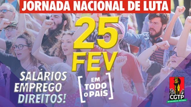 CGTP: Jornada Nacional de Luta. Concentração em Beja às 15h